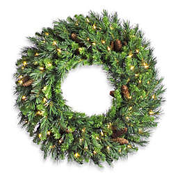 Vickerman Cheyenne Pine Pre-Lit Wreath with Pinecones and Clear Lights