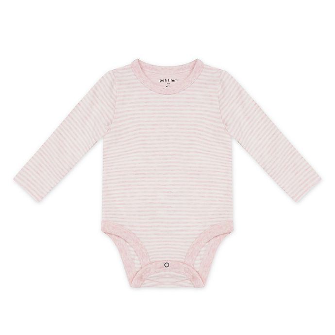 Alternate image 1 for petit lem Pink Stripe Bodysuit
