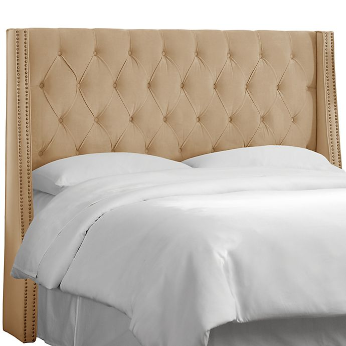 Alternate image 1 for Skyline Furniture Queen Tufted Nail Button Wingback Headboard in Velvet Buckwheat