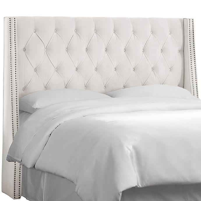Alternate image 1 for Skyline Furniture California King Tufted Nail Button Wingback Headboard in Velvet White