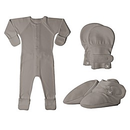 goumi® Size 0-3M 3-Piece Footie, Mitts and Booties Set in Pewter