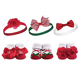 Hudson Baby® Size 0-9M 6-Piece Christmas Holly Sock and Headband Set in Red