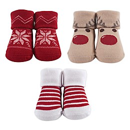 Hudson Baby® Reindeer Size 0-9M 3-Pack Sock Set in Red