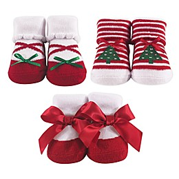 Hudson Baby® Christmas Tree Size 0-9M 3-Pack Sock Set in Red