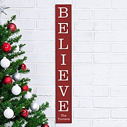 Believe Personalized Christmas Wooden Sign