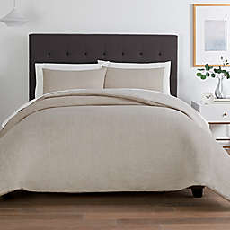 Washed Twill 3-Piece Full/Queen Comforter Set in Linen