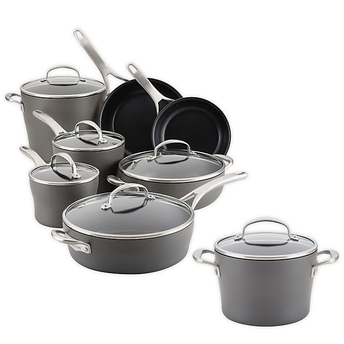 Alternate image 1 for Anolon® Allure Nonstick Hard-Anodized 12-Piece Cookware Set Plus Bonus Gift in Dark Grey