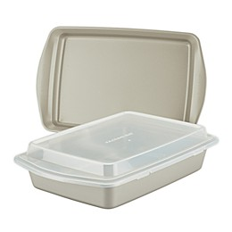 Rachael Ray™ Nonstick Carbon Steel 3-Piece Bakeware Pan Set with Swing Lid in Silver