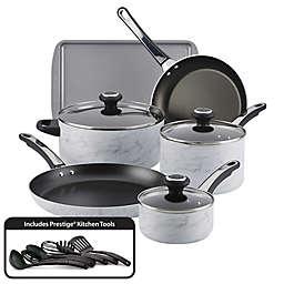 Farberware® Designs Nonstick Aluminum 15-Piece Cookware Set in White Marble
