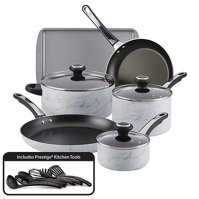 Alternate image 1 for Farberware® Designs Nonstick Aluminum 15-Piece Cookware Set in White Marble