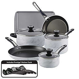 Farberware® Designs Nonstick Aluminum 15-Piece Cookware Set in White Marble
