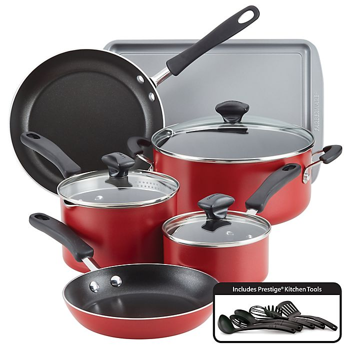 Alternate image 1 for Farberware® Cookstart Nonstick Aluminum 15-Piece Cookware Set in Red
