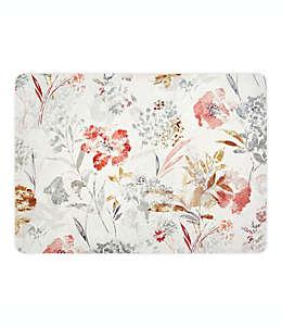 Mantel individual plastificado con diseño floral en natural
