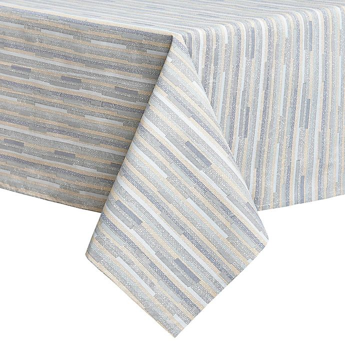 Alternate image 1 for Twill Stripe Laminated 60-Inch x 120-Inch Tablecloth in Blue