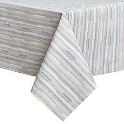 Twill Stripe Laminated 60-Inch x 120-Inch Tablecloth in Blue