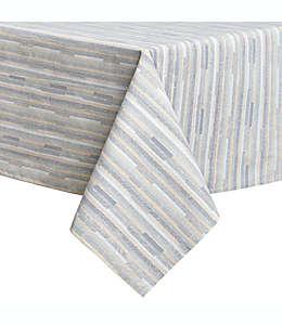 Mantel plastificado de algodón con diseño a rayas de sarga, 1.52 x 2.13 m color azul