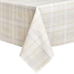 Venice Plaid Laminated Fabric Oblong Tablecloth