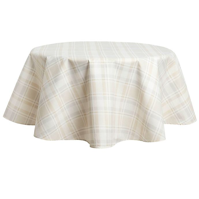 Alternate image 1 for Venice Plaid Laminated Fabric 70-Inch Round Tablecloth