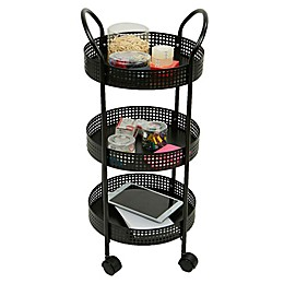 Mind Reader 3-Tier Metal Multi-Purpose Utility Cart in Black