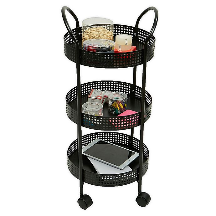 Alternate image 1 for Mind Reader 3-Tier Metal Multi-Purpose Utility Cart in Black