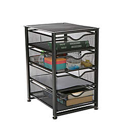Mind Reader 4-Tier Drawer Utility Cart in Black