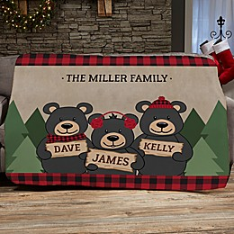 Holiday Bear Family Personalized 60-Inch x 80-Inch Sherpa Blanket