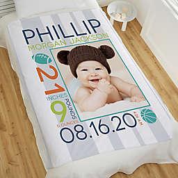 Sweet Baby Boy Personalized 60-Inch x 80-Inch Fleece Blanket