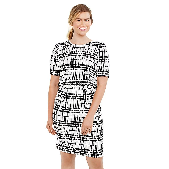 Alternate image 1 for Motherhood® Maternity Plaid Lift-Up Nursing Dress