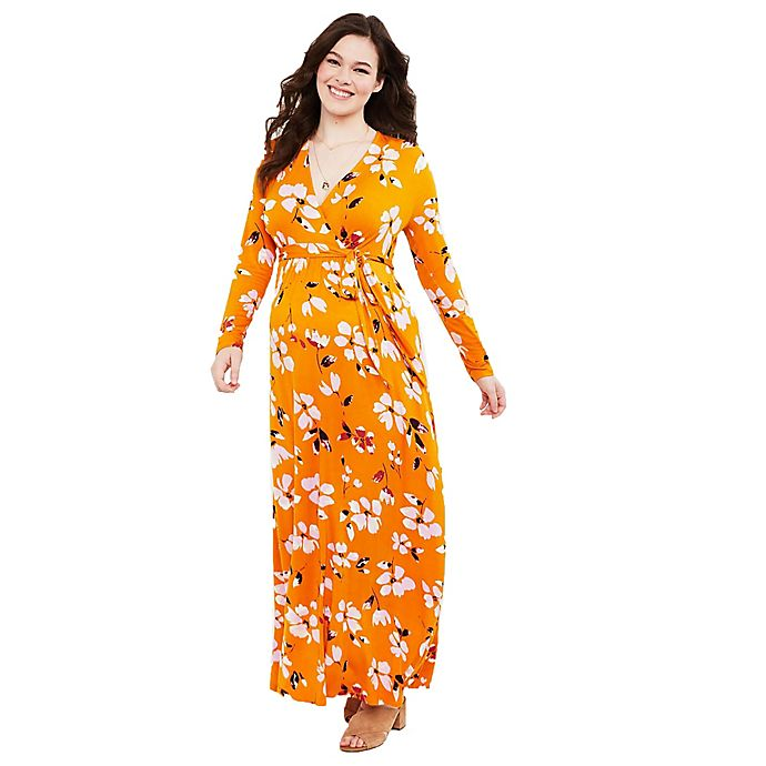 Alternate image 1 for Motherhood® Maternity Floral Wrap Maternity Maxi Dress in Gold