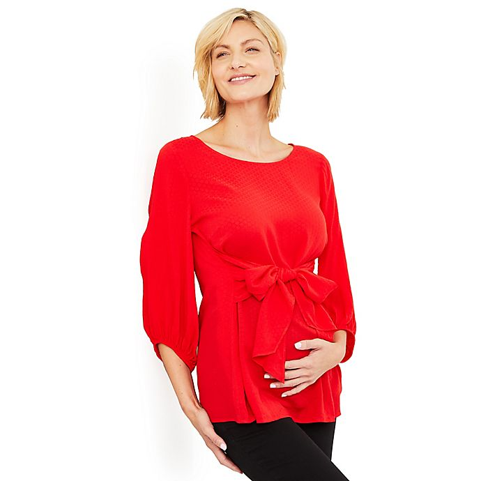 Alternate image 1 for Motherhood® Maternity Tie Front Maternity Blouse in Red