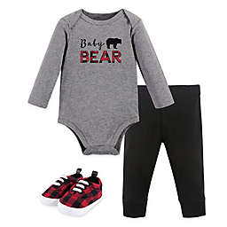 Little Treasure 3-Piece Baby Bear Long-Sleeve Bodysuit, Pant and Shoe Set