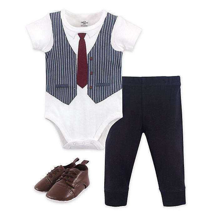 Alternate image 1 for Little Treasure 3-Piece Burgundy Vest Bodysuit, Pant and Shoe Set