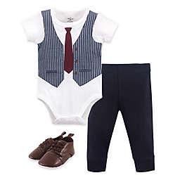 Little Treasure Size 6-9M 3-Piece Burgundy Vest Bodysuit, Pant and Shoe Set