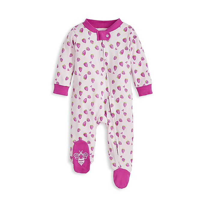 Alternate image 1 for Burt's Bees Baby® Strawberry Fields Organic Cotton Sleep 'N Play in Pink Begonia