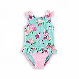 Wowease® Aqua Floral 1-Piece Swimsuit