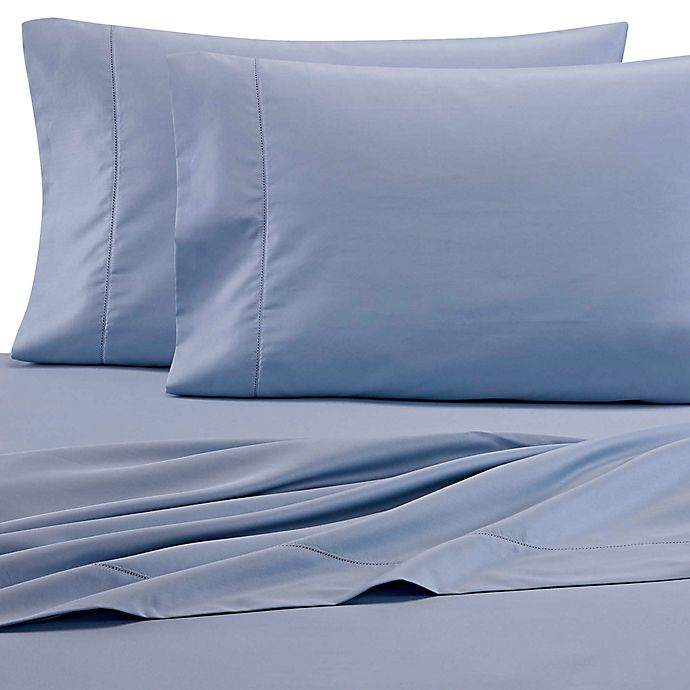 Alternate image 1 for Wamsutta® PimaCott® Solid 525-Thread-Count Twin XL Fitted Sheet in Blue