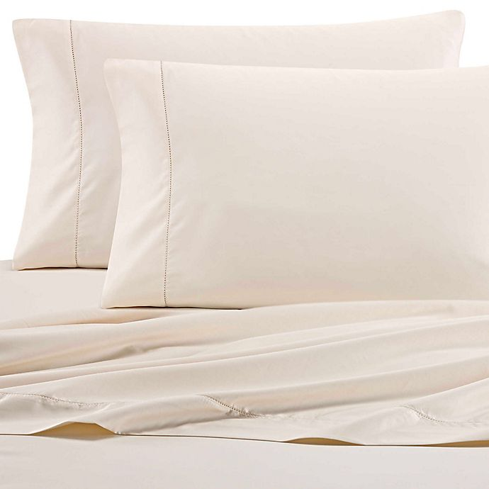 Alternate image 1 for Wamsutta® PimaCott® Solid 525-Thread-Count Twin XL Flat Sheet in Ivory