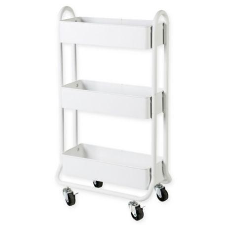 Salt Narrow Bath Storage Cart In, Bathroom Caddy On Wheels