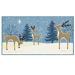 Bee and Willow™ Home Reindeer 20-Inch x 34-Inch Tufted Holiday Accent Rug in Blue