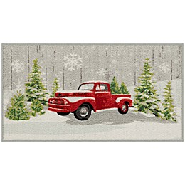 Bee and Willow™ Home Red Truck 20-Inch x 34-Inch Tufted Holiday Accent Rug in Grey