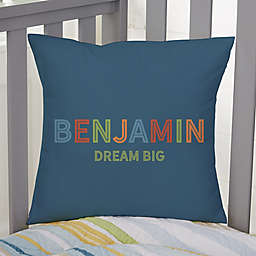 """Boy's Colorful Name Personalized 14""""--Inch Square Throw Pillow"""