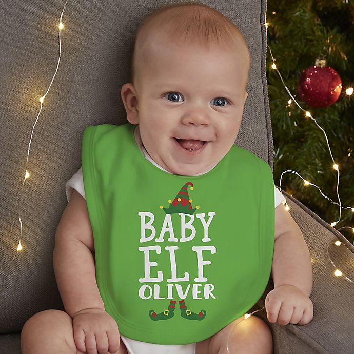 Alternate image 1 for Christmas Elf Personalized Baby Bib