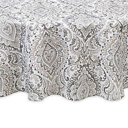 Watercolor Damask 70-Inch Round Indoor/Outdoor Tablecloth in Grey