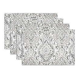 Watercolor Damask Indoor/Outdoor Placemats in Gray (Set of 4)
