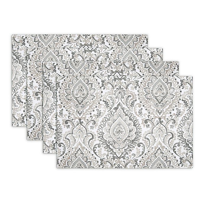 Alternate image 1 for Watercolor Damask Indoor/Outdoor Placemats in Gray (Set of 4)