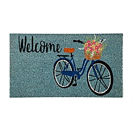 Evergreen Insert Welcome Bike 16-Inch x 28-Inch Door Mat in Teal