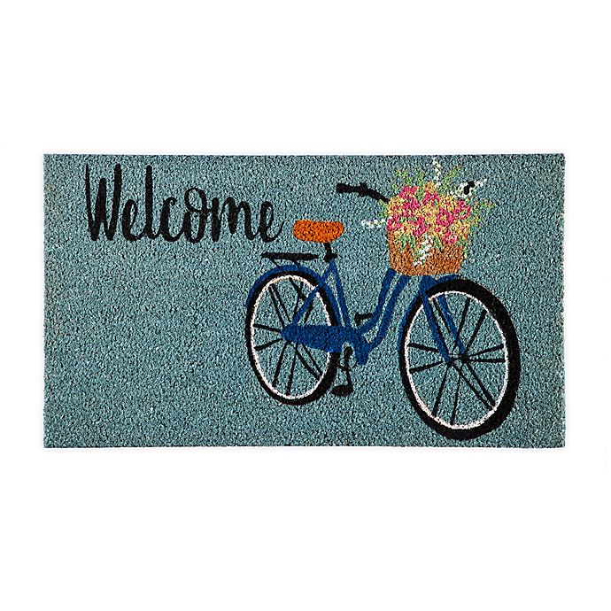 Alternate image 1 for Evergreen Insert Welcome Bike 16-Inch x 28-Inch Door Mat in Teal