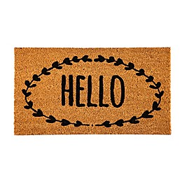 """Evergreen """"Hello"""" Wreath 16-Inch x 28-Inch Coir Door Mat in Black"""