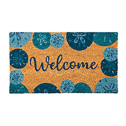 Evergreen Welcome Blue Sand Dollars 16-Inch x 28-Inch Coir Door Mat