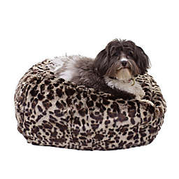 Carolina Pet Ombre Faux Fur Small/Medium Puff Ball Pet Bed in Leopard